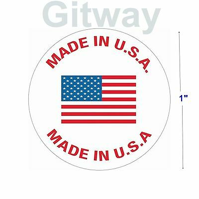 "500 Roll of Made in U.S.A. 1"" Diameter labels stickers with USA Flag in Center"