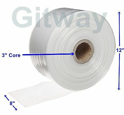 "8"" x 2150' Clear Poly Tubing Tube Plastic Bag Polybags Custom Bags on a Roll 2ML"