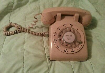 Vintage Western Electric Rotary Phone Bell System Beige/ Tan Desk Phone Chicago