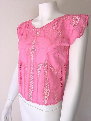 Vtg 70s 80s Floral MESH Crop Top Bali Indonesia Embroidered Cut-Out Shirt Blouse