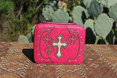 Pink Leather Bible Book Cover/Case With Cowhide Cross