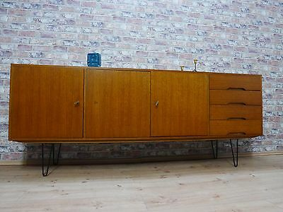 teak sideboard kommode schrank 50er 60er jahre mit hairpin legs danish design eur 640 00. Black Bedroom Furniture Sets. Home Design Ideas