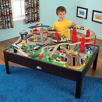 Kids Train Table Airport And Plane Set Mountain Helipad Spiral Track Tunnel Fun