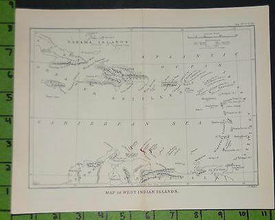 Antique Map of The West Indies Printed 1893 9x11