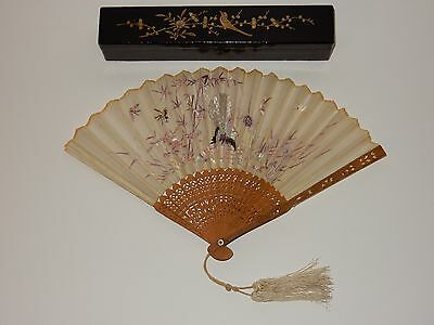 Chinese Embroidered Silk Butterfly Peacock Carved Sandlewood Fan w/ Lacquer Box