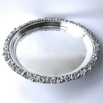 Antique Silver Plate Tray Serving Drinks Decanter Heavy Floral Rim Diameter 10""