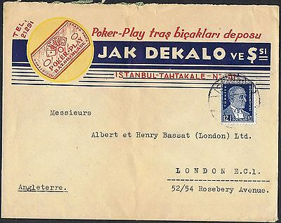 1931 12½k Ataturk on colourful advertising cover to the UK TS353