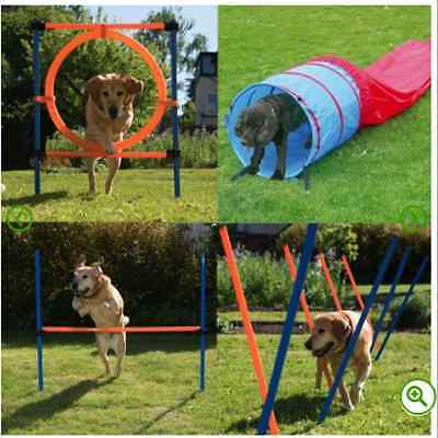 Dog Agility Training Equipment Course Obstacles Poles Hurdle Tunnel Hoop Fun