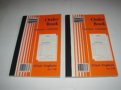 Olympic Order Book No. 738 (2 books!) Copymate Carbonless 50 leaf Duplicate