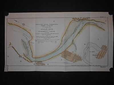 Omaha Nebraska Missouri River 1899 Map Hand Colored Steamboat Channel
