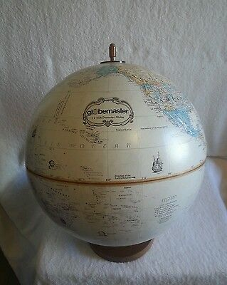 "Vintage Replogle Globemaster 12"" World Globe Brass Stand, Antique Color RARE"