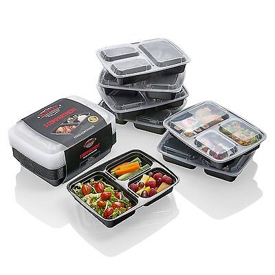 10 x 3 Compartment Plastic Food containers W/ Lid Lunch Storage  Box  10x Pak