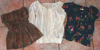 Lot Of 3 Hollister Shirts Blouse Women's Junior's Size Small