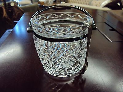 Vintage Waterford Crystal Ice Bucket with Ice Tongs