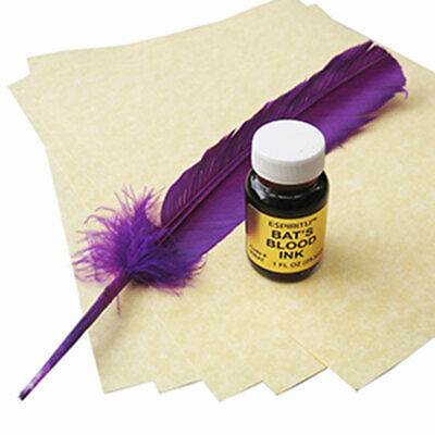 Bat's Blood Spell Writing Kit w/ Parchment, Ink, and Feather - Magic Wicca