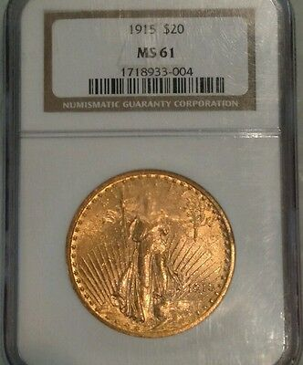 1915 Saint Gaudens Double Eagle $20 gold oz NGC MS 61
