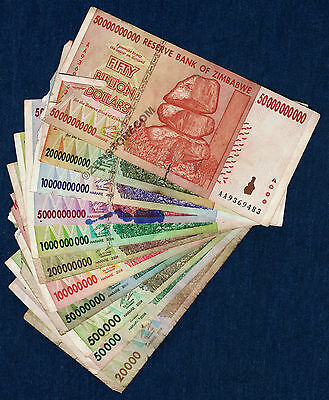 Zimbabwe Dollars Set ~ 11 Bank Notes DAMAGED 100 Million Billion + *Pre Trillion