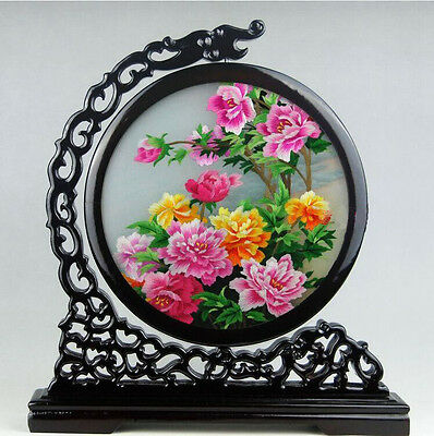 Chinese double-sided silk embroidery art colorful peonies screen