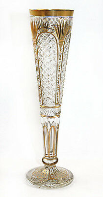 19th c. cut glass trumpet vase on star-cut foot with gilt highlights, Bohemian