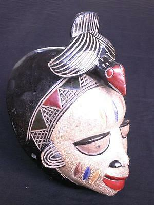 LARGE AFRICAN HAND CARVED WOOD ' ASHANTI ' TRIBAL MASK from GHANA 24.5cm width