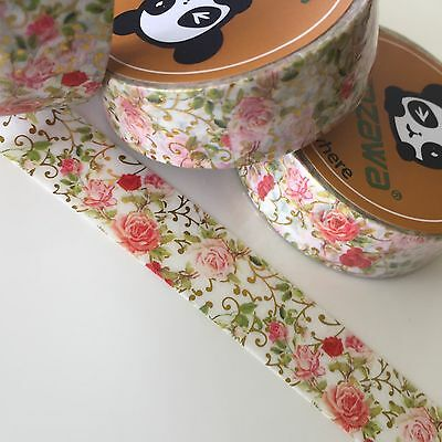 Washi Tape Pale Pink Roses Gold Foil 15Mm Wide X 10Mtr Roll Plan Craft Wrap