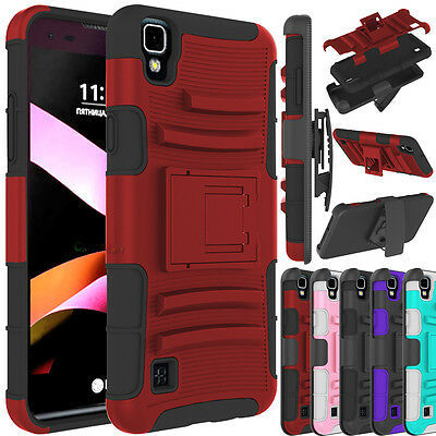 For LG X Style / Tribute HD Case Hybrid Shockproof Armor Belt Clip Holster Cover