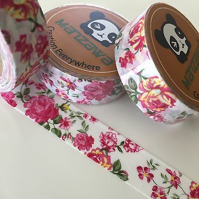 Washi Tape Pink Rosie Floral 15Mm X 10Mtr Roll Plan Craft Scrap Wrap