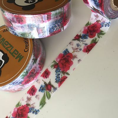 Washi Tape Ruby Red Floral 15Mm X 10Mtr Roll Plan Craft Scrap Wrap