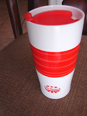 Tim Hortons 2015 Limited Edition Red Summer Coffee Travel Mug Cup Rare With Lid