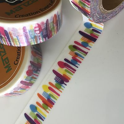 Washi Tape Knife Fork Spoon 15Mm X 10Mtr Roll Planner Craft Scrap Wrap Mail Art