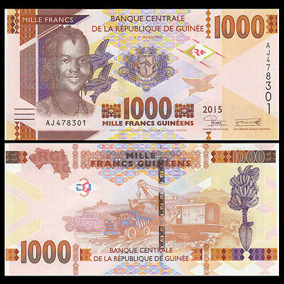 Guinea 1000 Francs, 2015, P-New, UNC>Redesigned