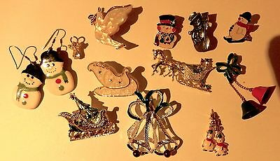 Lot of 14 Vintage Christmas Jewelry Pins Brooches Earrings Sleighs Gerry Signed