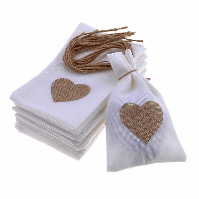 12 PCS Heart Wedding Candy bag Rustic Burlap Pouch Party Wedding Accessories