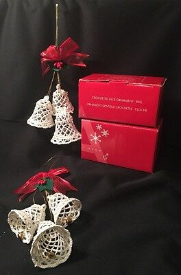 2 Avon Christmas Holiday Crocheted Lace Bell Ornament Victorian Style New