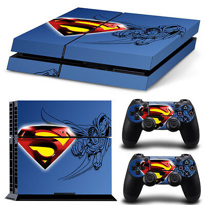 Superman Blue Vinyl Decal Skin Sticker for Sony PS4 Console & 2 Controller