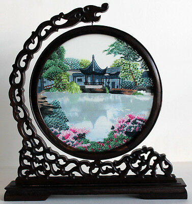 Chinese double-sided silk embroidery ornament art su gardens screen