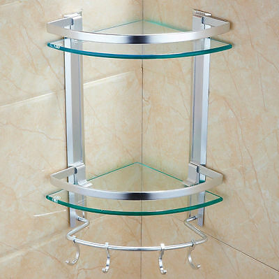 Bath Aluminum +Stainless steel Glass Shelve Glass Wall Mount Modern Shower Rack