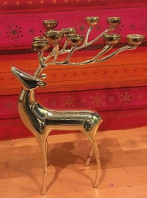 Pottery Barn REINDEER *GORGEOUS* Large Silver Candelabra  #2 Holds 10 Candles