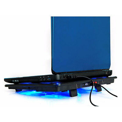 5 Fans 2 USB Cooler Pad Base LED Computer Fan Stand For Notebook Laptop