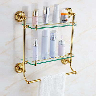 Gold Brass Two Tier Cosmetic Storage Holder Wall Mount Bathroom Glass Shelf