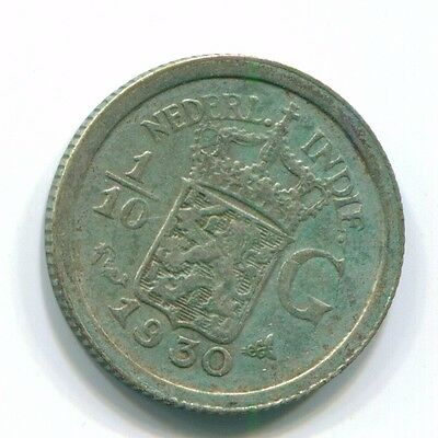 1930 Netherlands East Indies 1/10 Gulden Silver Colonial Coin Nl13461#3