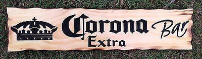 Corona Extra Bar Rustic Pine Timber Sign