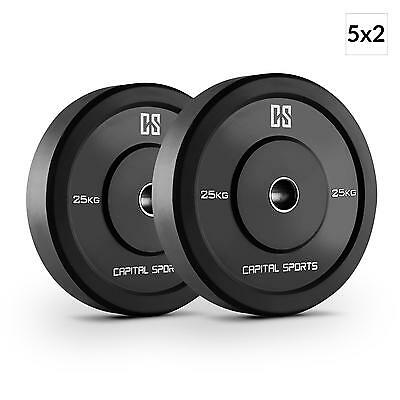 Capital Sports Weight Plates Disc 25 Kg X 10 Set 50.4Mm Barbell Bar Gym *freep&p