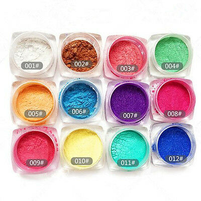 12Pcs/Set Mirror Powder Dust Glitter Chrome Nail Art Pigment Manicure Stick Free