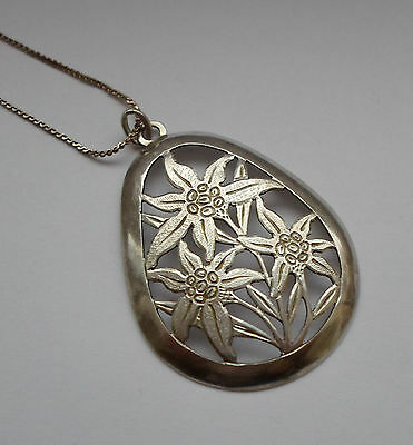 German 1930's Silver 900 Hand Made Flower Pendant Necklace