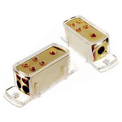 4 Ways Car Audio Stereo Amp Power Ground Cable Splitter Distribution Block+Cap