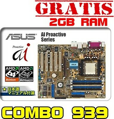PLACA ASUS ATX 939 A8V DELUXE + MICRO 3000+ 1.8GHZ + VENTIL +2GB RAM DDR  4xddr