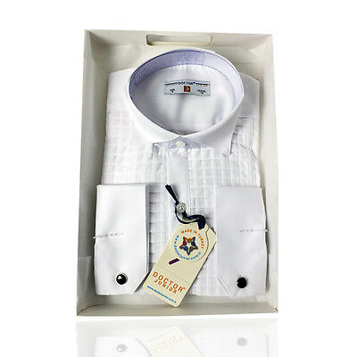 Boys Premium Wing Collar Square Pleated White Cufflink Shirt Kids Shirts