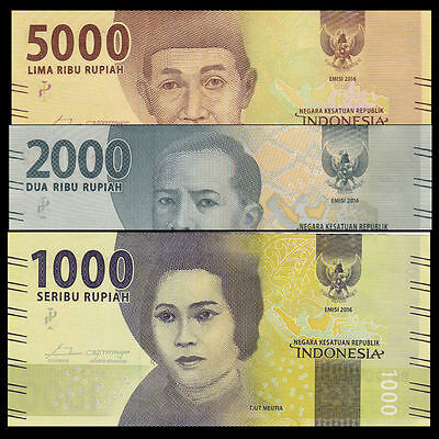 Indonesia Set 3 PCS, 1000 2000 5000 Rupiah, 2016/2017, P-NEW, UNC>New Design
