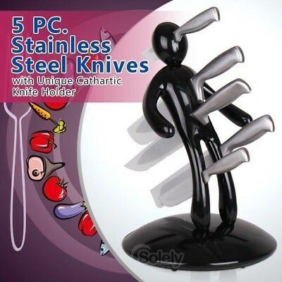 Brand New Voodoo Man Knife Block Set With 5 Quality Stainless Steel Knives Black